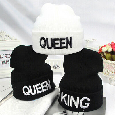 Pop Unisex Queen King Cap Hip Hop Winter Beanie Hat Knitted Lovers And Letter CN
