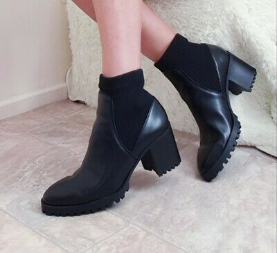 HEELED TRACK SOLE SOCK STYLE ANKLE BOOTS