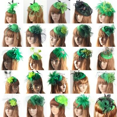 Women Green Fascinator Flower Pillbox Hat Lace Veil Hair Clip Party Accessory