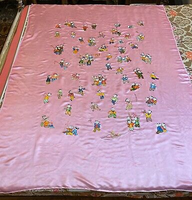 """Antique Chinese Hand Embroidery Panel Wall Hanging 55""""By 75"""" 100 Child"""