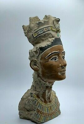 RARE EGYPT EGYPTIAN NEFERTITI ANTIQUES STATUE Queen Head Carved Stone BC