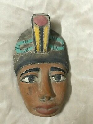 Vintage EGYPTIAN ANTIQUES EGYPT King AKHENATEN Mask STATUE Carved Stone BC