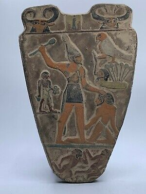 EGYPTIAN ANTIQUES EGYPT STELA RELIEF Palette of King Narmer Carved STONE 2920 BC