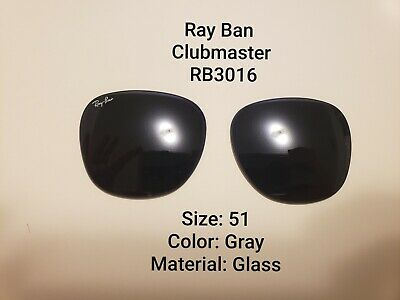 RayBan Clubmaster Glass Replacement Lens RB3016 GRAY Size 51 New