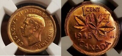 1945 1C Canada Small Cent NGC MS 64 RB -