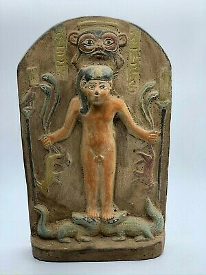 EGYPTIAN ART ANTIQUES EGYPT STELA Relief Magical Gods Carved STONE 1453 BC