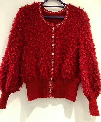 Vintage 80's Red Bobble Knit Diamante Buttons Chunky Winter Cardigan Size 14-16
