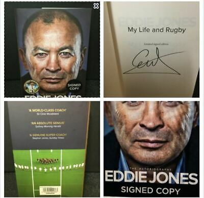 Eddie Jones England Signed Rugby World Cup 2019 H/B Book My Life & Rugby