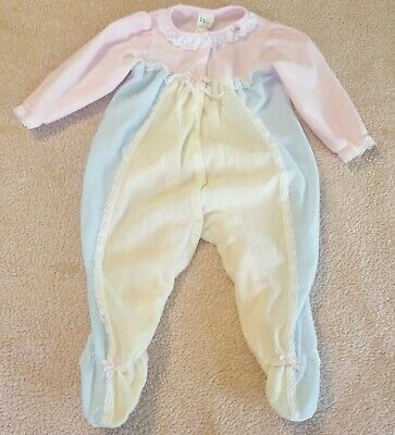 Vintage Frilly One Piece Footed Pajama Sleeper Baby 24 MO Ruffles Lace Made USA
