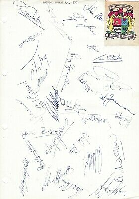 BRISTOL ROVERS 1969/1970 Original Hand Signed Sheet x 29 Autographs