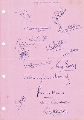 STOKE CITY 1969/1970 Original Hand Signed Sheet x 16 Autographs