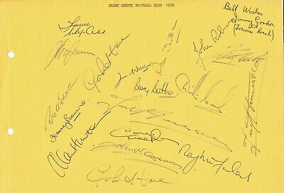DERBY COUNTY 1969/1970 Original Hand Signed Sheet x 19 Autographs