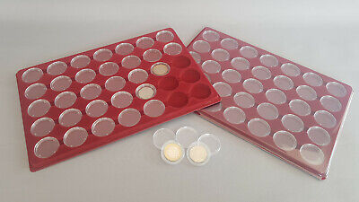 50p Two Pound Fifty Pence Coin Tray With 35 Capsules Plastic Cover Spaces 38mm