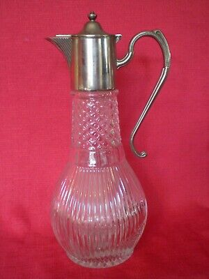 Stunning Vintage Silver Plated & Bulbous Glass Claret Jug..........