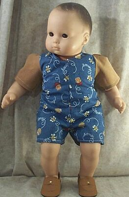 """Doll Clothes Baby Hand Made 4 American Girl Boy 15"""" Romper Summer Bees NEW"""