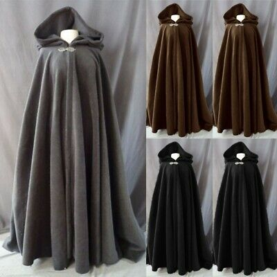 Classic Vintage Medieval Hooded Cape Solid Color Halloween Retro Cosplay Cloaks