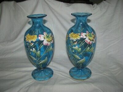 Pair Victorian  Blue Glass Hand Painted Vases - 24 Cms - Base Applied