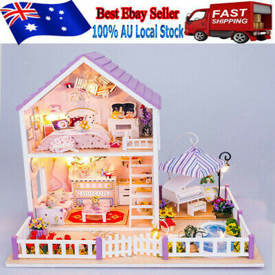 Large Wooden Kids Doll House Kit Girls Play Dollhouse Mansion Furniture