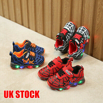Kids Boys Girls Spiderman LED Trainers Shoes Flashing Light Up Sneakers Glowing