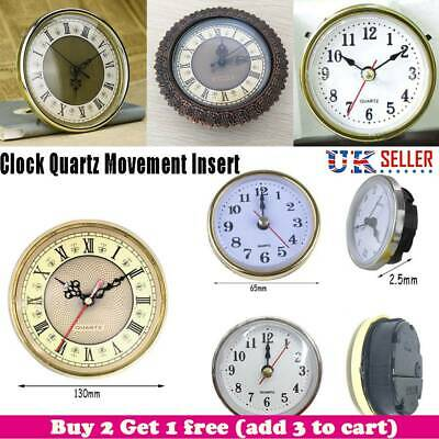 65mm/190mm Roman Numeral Quartz Clock Movement Insert White Face Gold Trim