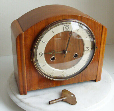 Vintage Walnut Cased Art Deco Perivale Andrews Chime Mantel Clock