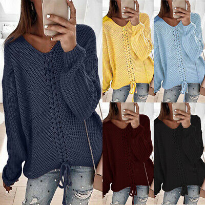Womens Long Sleeve Knitted Sweater Ladies Oversized Baggy Jumper Pullover Tops