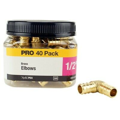 Apollo 1/2 in. Brass PEX Barb Connection 90 Elbow Jar Plumbing 200 psi (40 Pack)