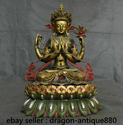"13.2"" Old Tibetan Brass Painting Temple Seat 4 arms Chenrezig Buddha Statue"