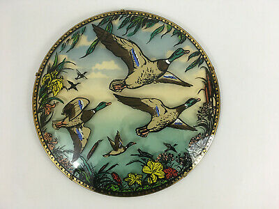 Vintage 1960's Retro Kitsch Flying Ducks Domed Glass Wall Hanging Plaque