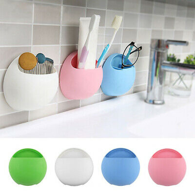 Toothbrush Holder Wall Mount Suction Cup Toothpaste Storage Rack Home Bathroom