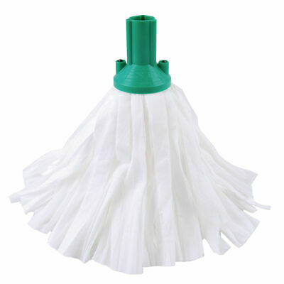 NEW! Exel Big White Mop Head Green Pack of 10 102199GN