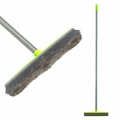 Push Broom Brush Long Handle Rubber Bristles For Pets Cats Dog Hair Carpet Tile