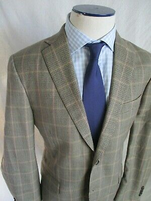 Peter Millar brown beige houndstooth plaid dual vent blazer sport coat jacket 40