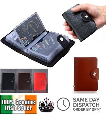 New 3 Colour PU Leather 24 ID Credit Card Holder Mens Women Business Wallet Case