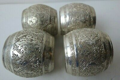 Beautiful SET of 4 Ornate Vintage Persian SOLID SILVER Napkin Rings