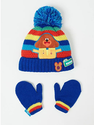 Hey Duggee Bobble Hat and Mittens Winter Set Boys 1-6 Years NEW