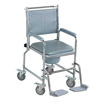 NRS Healthcare M66119 Wheeled Commode/Over Toilet Chair with Padded Seat and...