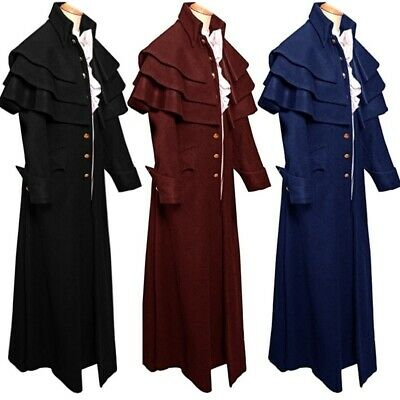 Cosplay Vintage Men Medieval Steampunk Jacket Long Frock Gothic Long Trench Coat