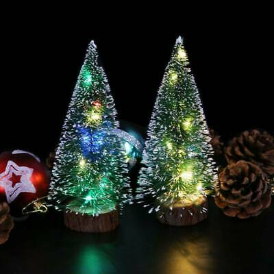 Mini Christmas Tree With LED Lights Ornaments Festival Table Decor Xmas Gift JP
