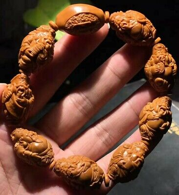Excellent Chinese Olive Nut Pure Hand-carved *Shanghai Wealth God* Bead Bracelet