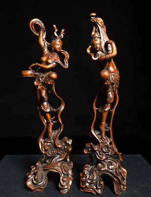 """9.84"""" A pair Old Chinese Boxwood carved beautiful woman female celestial statue"""