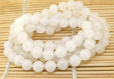 Natural 12mm White Jade Gemstone Round Beads Necklace 18'' AAA