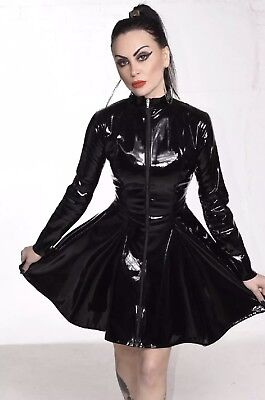 Misfitz sexy black Pvc skater mistress dress size 32 TV Goth CD Fetish Club
