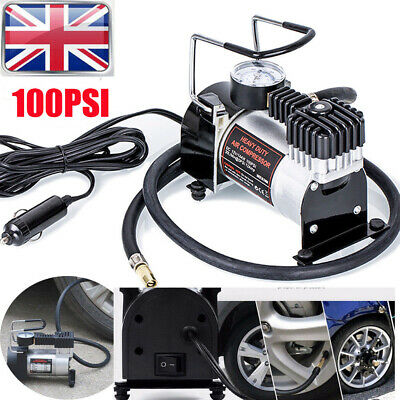 Heavy Duty 12V Electric Car Tyre Inflator 100Psi Air Compressor Pump UK