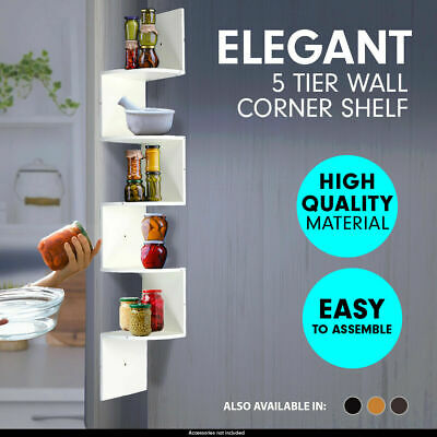 5 Tier Corner Shelf Floating Wall Shelves Storage Display Books Home Decor UK