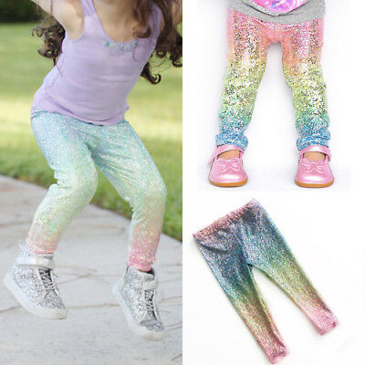 Kids Baby Girls Sequin Clothes Bottoms Leggings Pants Toddler Trousers 1-6Y