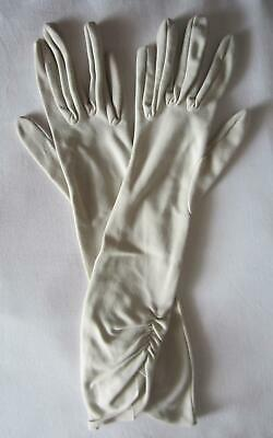 Vintage Ladies Cornelia James GLOVES - Cream - Below Elbow Length - Ruched