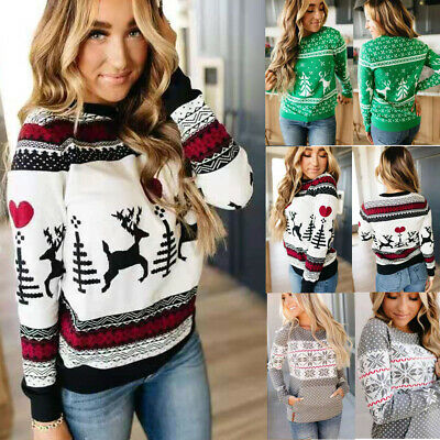 Women Long Sleeve Christmas Sweater Xmas Sweatshirt Jumper Winter Pullover Tops