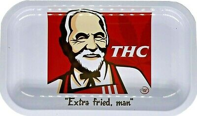 "Premium Rolling Tray ""THC Extra Fried Man"" 6.25"" x 11"""