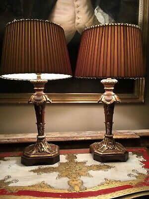 Pair Antique Gilt Decorated  Carved French Oak Table Lamps Refurbished